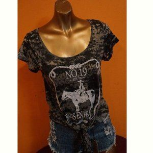 Black Burnout Short Sleeve Cow Girl Style Top